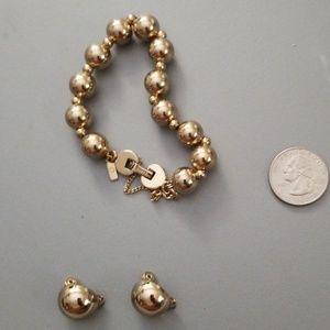 Monet Gold Ball Bracelet & Half Ball Clip Earrings